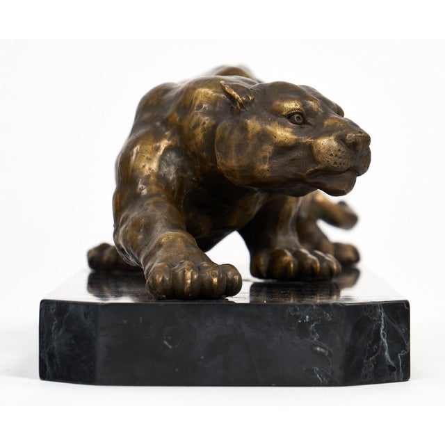 Gold Vintage French Bronze Panther Sculpture For Sale - Image 8 of 10