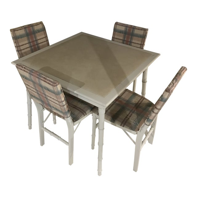 Vintage Chinoiserie White Stakmore Bamboo Card Table And Four Folding Chairs 5 Pieces
