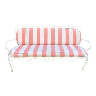 Hollywood Regency Painted Iron Outdoor Sofa Settee W Scalamandre Stripe For Sale
