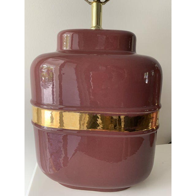 1980's Modern Abstract Form Mauve and Gold Lamps - a Pair For Sale In Miami - Image 6 of 12