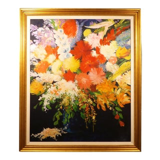 "Joseph Santele ""Primo"" Large Original Large Framed Floral Oil Painting For Sale"