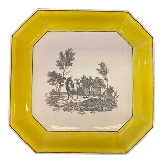 Early 19th Century French Creil Octagonal Platter With Yellow Border For Sale