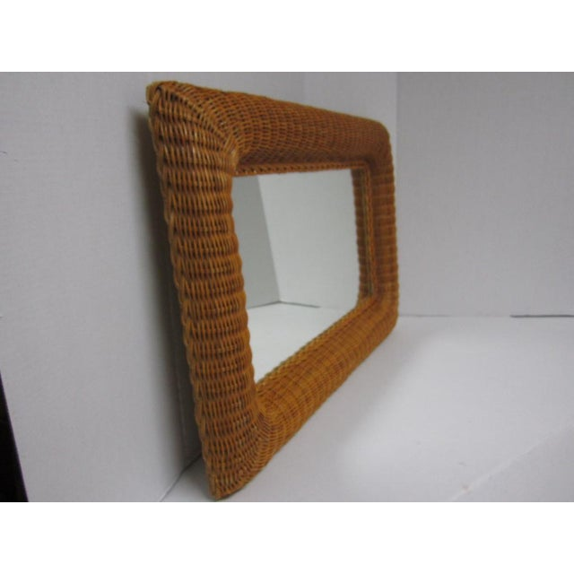 Vintage Lacquer Wicker Rattan Wall Mirror - Image 6 of 11