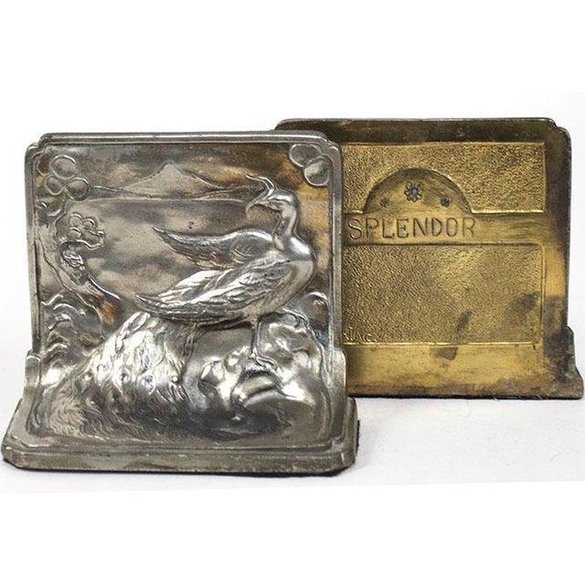 Art Nouveau Pompeian Bronze Co. Art Nouveau Peacock Bookends - a Pair For Sale - Image 3 of 8