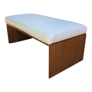 Art Deco Exotic Wood and Leather Bench in the Style of Maxime Old For Sale