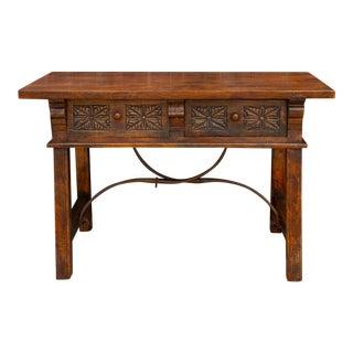 Carved Antique Elm Vizcaya Table For Sale