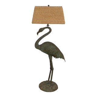 Maitland Smith Bronze Flamingo Floor Lamp with Shade For Sale