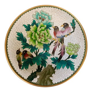 Chinese Cloisonné Decorative Bird and Flower Dish For Sale