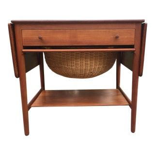 Hans J. Wegner Model At-33 Solid Teak Sewing Table For Sale