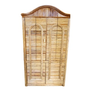 Massive Vintage Pencil Reed Gabriella Crespi Style Honey Arched Front Armoire Wardrobe Tv Cabinet For Sale