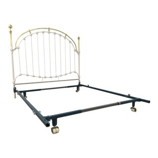 Antique Brass and White Enameled Wrought Iron Queen Bedframe For Sale