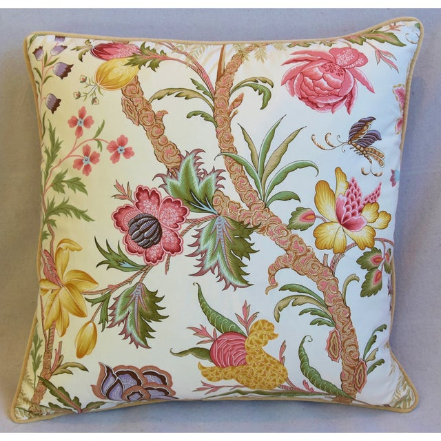"Early 21st Century Designer Cowtan Tout Arabella Floral Feather/Down Pillows 24"" Square - Pair For Sale - Image 5 of 13"