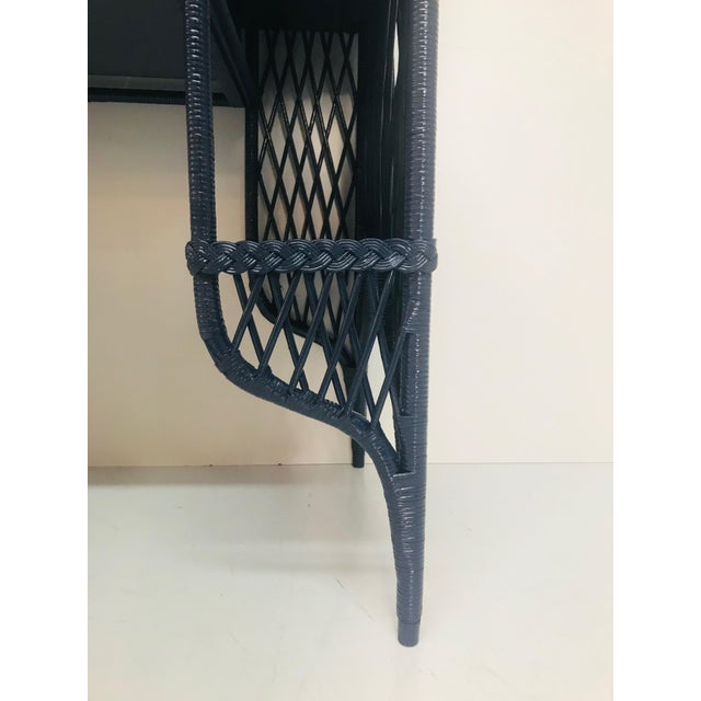 Wood 1960s Navy Rattan Writing Desk With Topper For Sale - Image 7 of 9