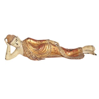 Reclining Buddha / Draped in Golden Robes With a Jeweled Border and Headress For Sale