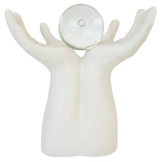 """Figural Upturned Hands Sculpture Titled """"The Future Is in Your Hands"""""""
