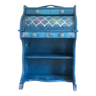 Hand Painted Boho Secretary Desk For Sale