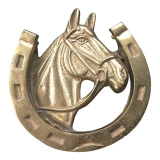 Brass Horseshoe Door Knocker For Sale
