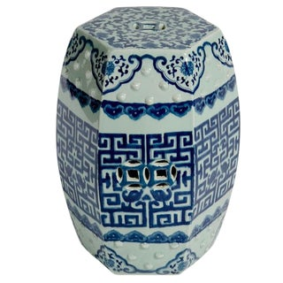 Asian Modern Blue & White Porcelain Hexagonal Garden Stool