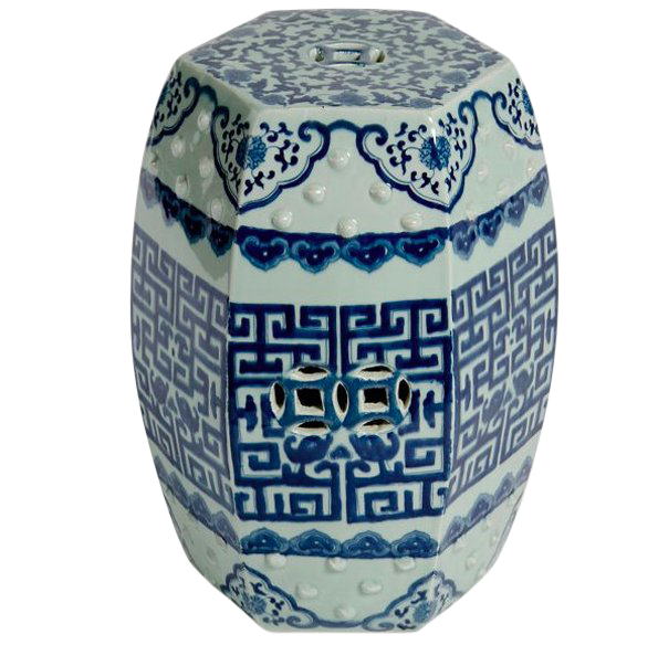 Asian Modern Blue U0026 White Porcelain Hexagonal Garden Stool