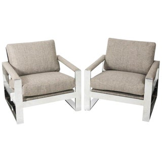 Circa 1970s Milo Baughman Cube Chairs - A Pair For Sale