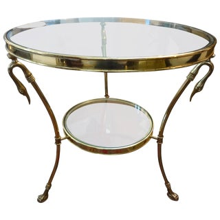 1970's Italian Hollywood Regency Brass and Glass Two Tiered Table For Sale