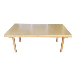 Vintage 1980s Scandinavian Light Wood Contemporary Dining Room Table W/ 2 Leaves For Sale