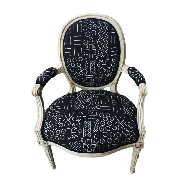 Old French Chair W/Black & White Mud Cloth For Sale In New York - Image 6 of 8