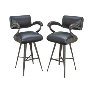 Eiffel Pair of Mid Century Modern Style Black Faux Ostrich Leather Swivel Metal Bar Stools