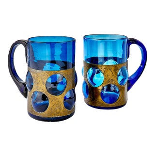 Art Deco Blue Glass Mugs With Brass Sleeves - a Pair For Sale