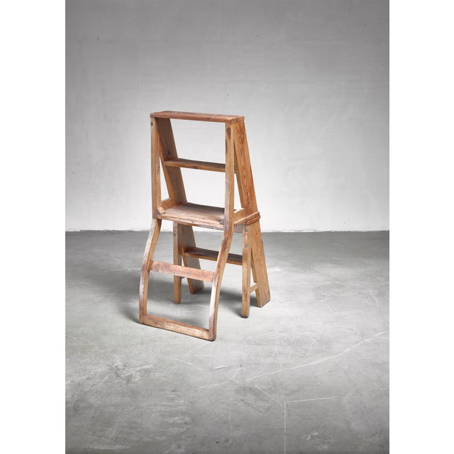 Folk Art Swedish 19th Century Step Chair in Pine For Sale - Image 3 of 5