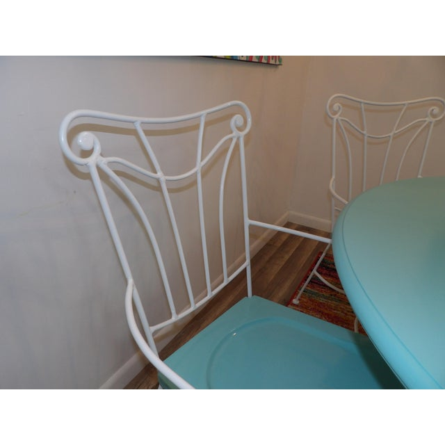 Vintage Turquoise and White Wood & Iron Dining Set For Sale - Image 10 of 12