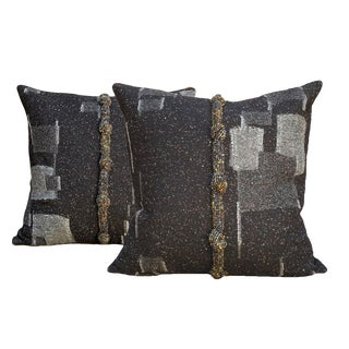 Black Tweed Wool Pillows - a Pair For Sale