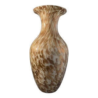 1950s Mid-Century Gold and White Aventurine Murano Glass Vase From Irwin and Lane For Sale