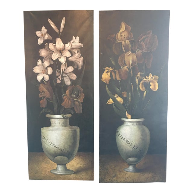 19th Century French Monumental Floral Paintings - a Pair For Sale