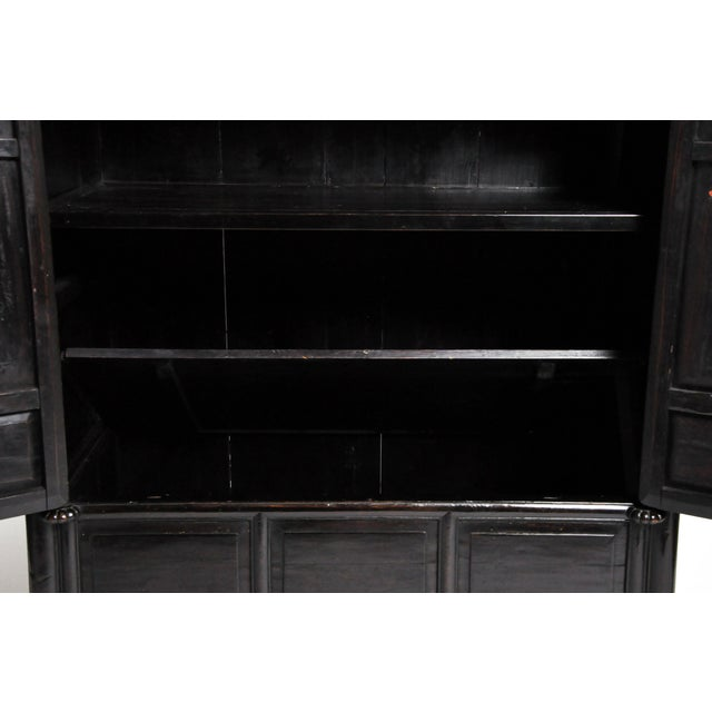 Black Qing Dynasty Chinese Clothing Cabinet With Four Drawers For Sale - Image 8 of 13