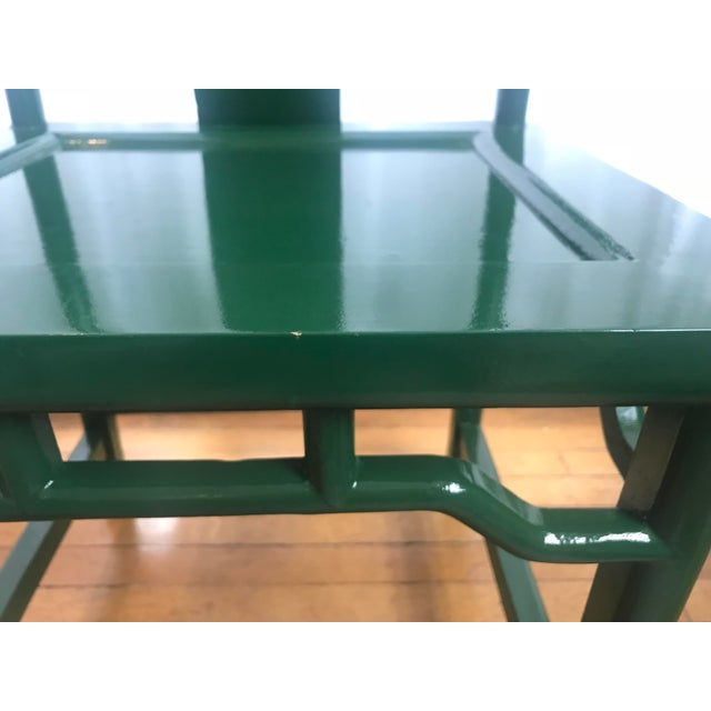 Glass Chinoiserie Ming Style Green Lacquered Chairs - a Pair For Sale - Image 7 of 10