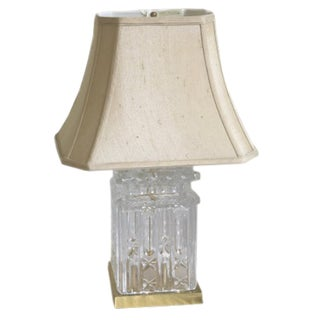 Cut Glass Electric Table Lamp Base For Sale