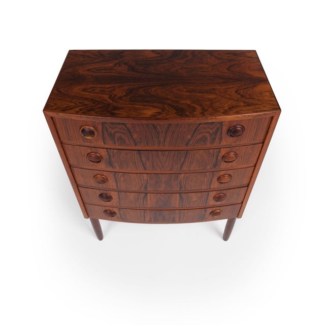 Kai Kristiansen Rosewood Chest of Drawers, made in Denmark circa 1960. This beautiful bow-fronted chest has five drawers...
