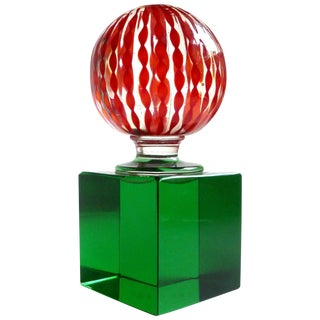 Paolo Venini Signed Murano Red Filigrana Ribbons Italian Art Glass Paperweight For Sale