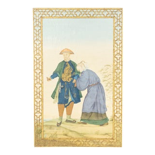 Chinese Chinoiserie Scene Portrait Painting For Sale