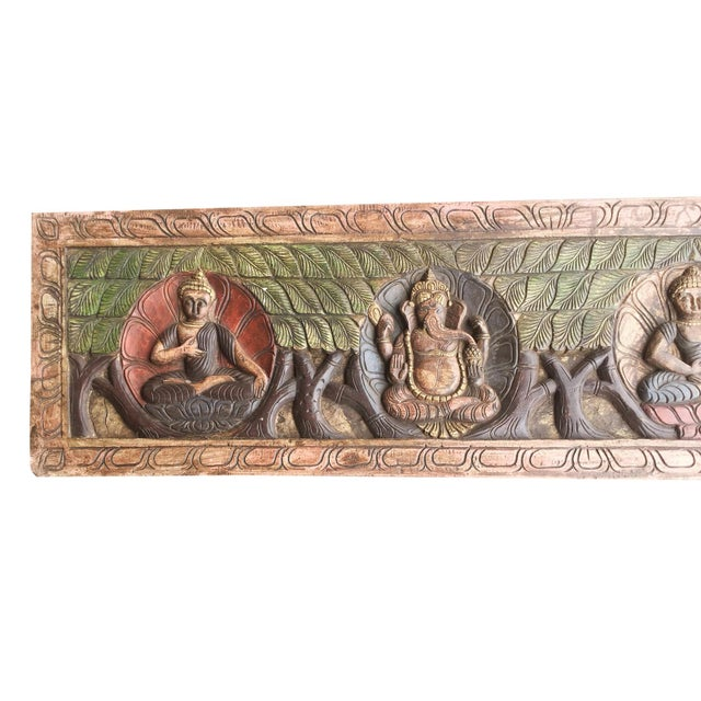 18th Century Asian Antique Hand Carved Buddha Ganesha Headboard For Sale - Image 4 of 5