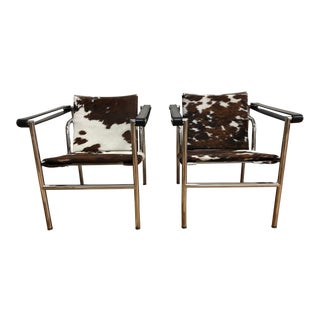 Room & Board Pierre Hide + Chrome Accent Chairs, a Pair For Sale