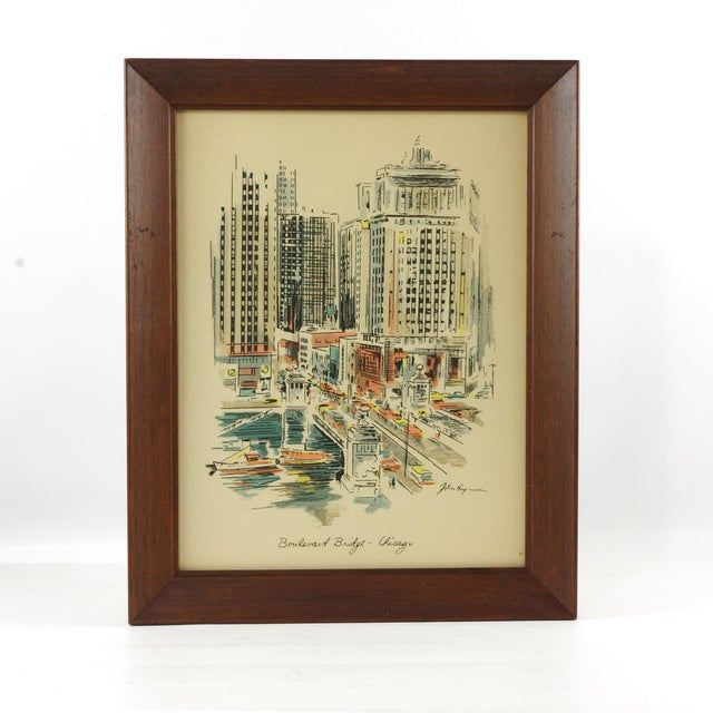 """White 1960s Vintage John Haymson Mid Century Modern Framed Print """"Boulevard Bridge, Chicago"""" For Sale - Image 8 of 8"""