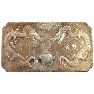 Chinese Silver Pendant Plaque Very Large Double Dragon For Sale