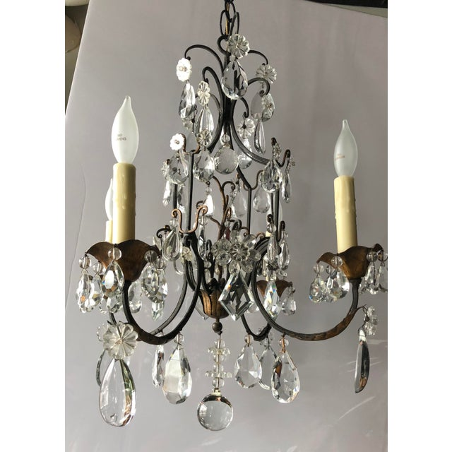 Vintage French Black Iron and Crystal Chandelier For Sale - Image 13 of 13