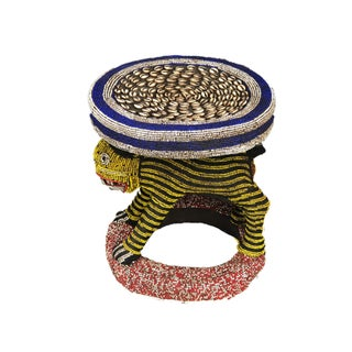"Lg African Beaded Wood Bamileke Stool /Table Cameroon 18.25'""h Preview"
