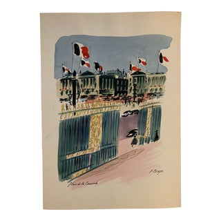 "French ""Place De La Concorde"" Watercolor Painting by J. Berger For Sale"