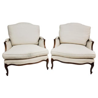 Pair of Vintage Queen Anne Wingback Chairs For Sale