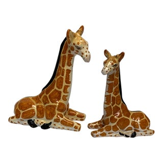 Italian Terra-Cotta Giraffe Figurines - a Pair For Sale