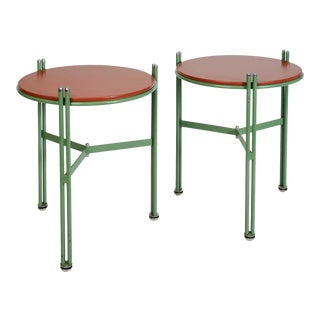 German 1950s Bauhaus Green Enameled and Red Leather Side Tables - a Pair